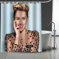 Custom Miley Cyrus Rideau de douche imprimé Salle de bain étanche Polyester Lavable maison de bain de bain de bain de bain avec crochets