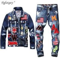 Вышивка патч дизайн куртка джинсы 2 шт. Набор мужской мульти-значок череп джинсы наборы тонкий джинсовая куртка + флаг значок краски jeans 201109