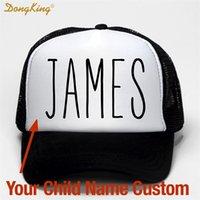 Dongking Kids Baby Nombre Nombre Personalizado Camionero Sombrero Impreso Nombre Niño Bebé Hija Hija Personalizado Personal Tap Meth Baseball Cap Regalo LJ200917