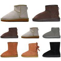 al por mayor de las mujeres de invierno botas para la nieve de la manera calza kneel clásico tobillo corta arqueamiento de piel botines de arranque Castaño zapatillas de deporte de tamaño 36-41