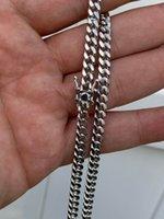 Mens Miami Cuban Chain Link Solid Real Argent 925 Fill Boîte Collier de verrouillage de 6 mm