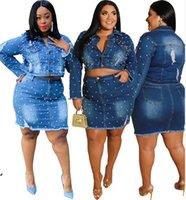 Bayan İki Parçalı Elbise Artı Boyutu Denim Elbise Uzun Kollu Jean Ceket + Miniskirt Moda Yüksek Kaliteli Bayan Giyim KLW5406