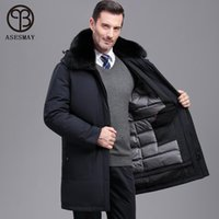 Asesmay 2020 New Arrival Men Winter Jacket White Duck Down Coat Fur Hooded Detachable Brand Clothing Thicken Warm Outwear