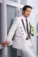 Herrenanzüge Blazer 2021 Maßgeschneiderte Bräutigam Smoking, weißer hübscher Party-Anzug Groomsman (Jacke + Pants + Krawatte + Hemd) Bräutigam