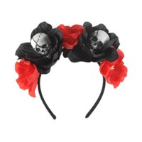 Ins New Black Simulation Flower Button Foam Crânio Cabeça Halloween Fantasma Festival Party Hoop 3n26