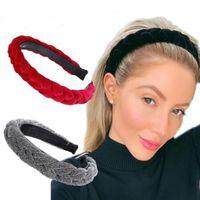 ヘアアクセサリー広い光沢のある織り毛バンド編組ヘッドバンドヘアフープファッションヘアバンドベゼルヘッドドレス