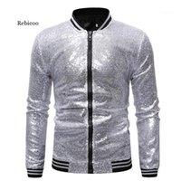 Vestes pour hommes Susque brillante Sparkle Bomber Jacket Hommes Hommes Gold Glitter Stripper Zipper Hommes et Manteaux Party Dance Vêtements 1