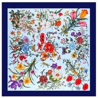 de serviette en soie Mme Emulation soie twill Big Foulard DESIGNER FEMME Foulards fleurs femmes châle peinture