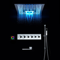 비 샤워 시스템 폭포 3 기능 샤워 헤드 패널 LED 샤워 세트 온도 조절 믹서 황동 수도꼭지 탭 천장 마운트