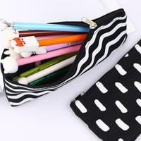스트라이프 연필 가방 포켓 학교 화장품 메이크업 연필 펜 주최자 가방 케이스 파우치 사무실 학교 GGB2240 공급