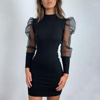 Vintage Bodycon Dress Mode Frauen Slim Business Office Abendkleid Lange Puff Sleeve Winter Party Elegante Neu1