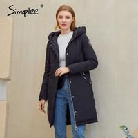 Simplee Sıcak Rahat Kadın Ceket Ceket Şapka Ile Moda Yeni Tasarım Cep Parka Beyaz Kadın Uzun Kış Coat Windproof Yeni 201105