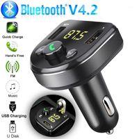자동차 핸즈프리 무선 블루투스 키트 FM 송신기 LCD 자동차 MP3 플레이어 USB 충전기 FM 변조기 액세서리 전원 어댑터 1