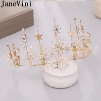 Outros Janevini Sparkly Gold Star Princesa Crown Crystal Hairband Nupcial Tiaras de casamento para noivas Prom Festa Headwear Acessórios1