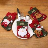 Natale Posate cucchiaio della forcella Borse tavola guanti della copertura del supporto di Natale pranzo da tavola decorazione decorazioni natalizie Borsa trasporto marittimo KKA1431