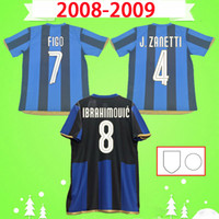 inter milan forması 2008 2009 Retro futbol forması 08 09 Figo Ibrahimovic J.ZANETTI SNEIJDER MUNTARI QUARESMA MILAN MILITO home classic Vintage futbol forması