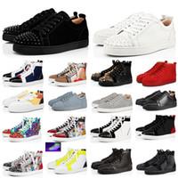2020 Nova Chegada Vermelho Bottoms Men Moda Shoes Spikes Alta Low top Sneakers Preto Branco Glitter Couro Camurça Mens Flats Sapato Casual