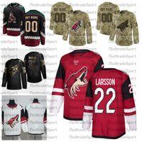2021 Personnaliser Johan Larsson Arizona Coyotes de hockey Chandails personnalisés Autre Noir # 22 Johan Larsson Chemises Cousu de hockey Un patch