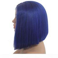 Синий парик синтетический безколесный короткий короткий кружевной фронт боб парики термостойкое волокно дешевый короткий боб нарезанный парик наклон для чернокожих женщин