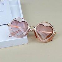 2020 nouvelles lunettes de soleil pour enfants Bébé Filles Garçons Coeur Miroir alliage Enfants Lunettes de soleil avec étui UV400 Lunettes Shade