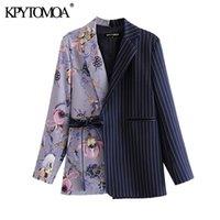 KPYTOMOA Kadınlar 2020 Moda Ofis Çiçek Baskı Patchwork Blazer Ceket Vintage Cepler Kemer Kadın Giyim Şık LJ200911 Tops