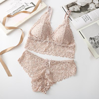 Sexy Lace Bra Sets Women Seamless Bra Ultrathin Panties Padded Bralette Soft Briefs Underwear Set Female Intimates Lingerie