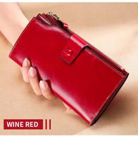 HBP Echtes Leder Frauen Brieftasche Lange Dame Leder Geldbörse Marke Design Luxus Öl Wachs Leder Weibliche Brieftasche Münze Geldbörse Wein Rot