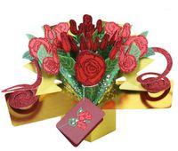 3D Rose Grußkarte 3D Pop Up Glitter Rose Nachricht Karte Für Valentinstag Kreative Geschenk1