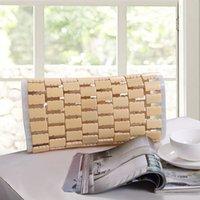 Almohada de bambú de verano fresco y refrescante almohada de bambú 32 * 16 * 8 cm almohada de cuello decoración para el hogar Strpe Rectángulo Hollow Terapia Almohadas T200603