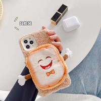 porte-monnaie Fermeture éclair étui de téléphone pain 3D Toast pour iPhone 11 12 Pro Max Mini XR XS MAX 7 8Plus cas chaud floue en peluche couverture mignon doux