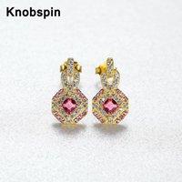 Knobspin 100% 925 Sterling Silver 2021 Simple Vintage Géométrique Ruby Charm pour femmes Boucles d'oreilles Fine Bijoux Fête de vacances