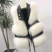 Automne hiver nouveau manteau de fausse fourrure hiver femmes manteau de taille femme veste fourrure gilet moelleux couleur solide pour dames 201102