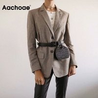 Aachoae Office Ladies Plaid Blazer Long Sleeve Loose Houndstooth Suit Coat Jacket Women Single Breasted Blazers Female 201008
