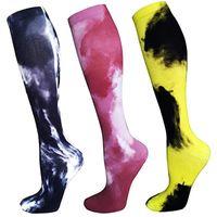 Мужские женщины сжатия чулки бегущие леггинсы сжатия носки цветные печать 3D печать марафон носки