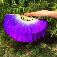 """Stage Wear Customized White Purple Gradient Real Silk Fan Veil Pairs 16"""" Short Sequin Belly Dance Folk Half Circle On Sale1"""