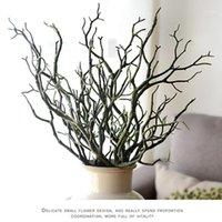 Dekoratif Çiçekler Çelenk 3 adet 36 cm Manzanita Kuru Yapay Sahte Yeşillik Bitki Ağacı Şube Düğün Ev Kilisesi Ofis Mobilya Yeşil Wh