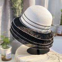 Personnalité MultiLouche Dentelle Chapeau de paille Summer Sun Protection Chapeaux Pour Femmes Vacances Outdoor Vacances Beach Bread Chapeaux