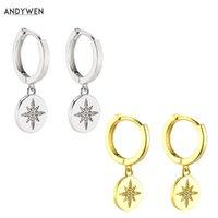 Dangle Avize Andywen 925 Ayar Gümüş Iyi Hoops Huggies Kar çiçeği CZ Lüks Bırak Moda Küpe Kadınlar için 2021 deyimi