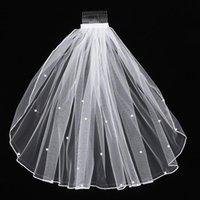 Femmes Tulle voile de la mariée Perle Veil mariage avec peigne cheveux pour la mariée fille fleur fête de mariage Photographie