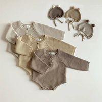2020 осень новый малыш ребенок мальчики девочек вязаный боди младенческий комбинезон трикотажные наряды новорожденного ребенка свитер и вязаный шляпа1
