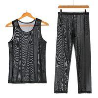 Undershirts Mens sets 2 peça malha ver através de tanques tops calças shorts sexy fishnet underwear tracksuit nightwear sports suits1