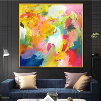 Colorful Watercolor Abstract Canvas Oil Painting Decorative ...