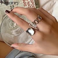 Minimalist 925 anelli larghezza placcati argento per le donne moda vintage creativo cavità geometrica fatta a mano aperto anello anello dito regalo gioielli regalo
