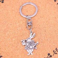 Mode Schlüsselanhänger 36 * 23mm musikalische Kaninchen Trompete Anhänger DIY Schmuck Auto-Schlüsselketten-Ring-Halter-Souvenir für Geschenk