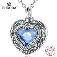 Eudora Sterling Silver Silver Heart Locket Heart Cremation Memorial Ashes Urn Blu Crystal Birthstone Collana Gioielli Keepsake LJ201016