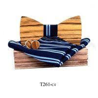 حمار وحشي الحبوب خشبية القوس التعادل للرجال الذكور العصرية ربطة العنق الخشب بووتي منديل أزرار أكمام مجموعة box1