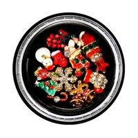 Suministros de arte de uñas Navidad Manicure Metal Rhinestone Joyería Cojín de uñas para uñas de belleza Juego de decoración de uñas de aleación mixta