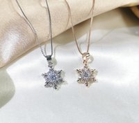 S925 Sterling Silver Necklace Jewelry for Women Christmas Snowflake Fashion Luxury Designer Pendant Necklaces with Crystal Stone