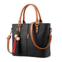 Роскошные сумки Женские сумки Дизайнерские 2020 Большой Твердая кожа кисточкой Crossbody плечо Сумки для женщин Посланника Дамы мешок руки