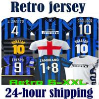 레트로 버전 2009 2010 Milito Sneijder Zanetti 축구 유니폼 Pizarro 축구 1997 1998 97 99 Djorkaeff Baggio Ronaldo Inter 02 03